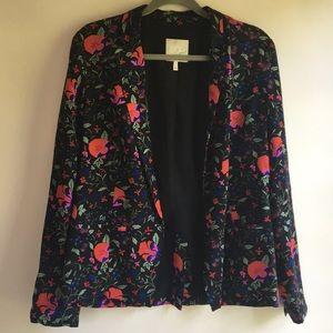 Joie Floral Print Silk Blazer